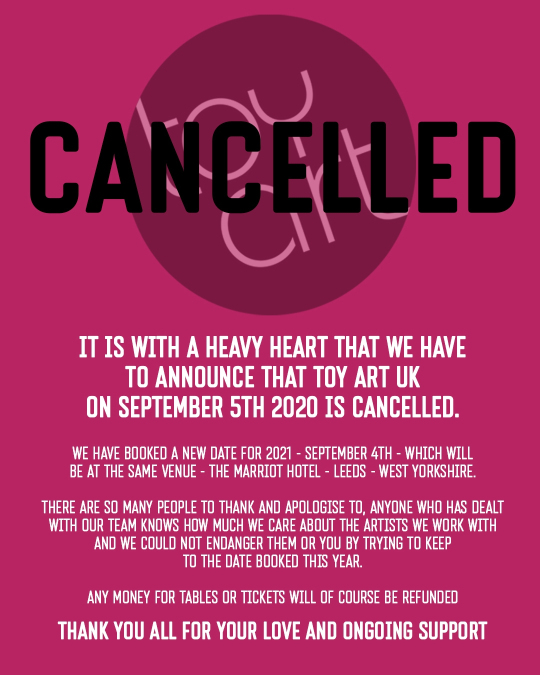 Toy Art UK 2020 Cancelled